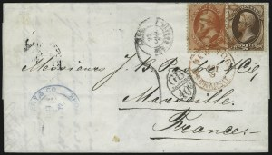 Sale Number 922, Lot Number 1179, New York Foreign Mail Cancels On Cover 2c Red Brown, 7c Vermilion (146, 149), 2c Red Brown, 7c Vermilion (146, 149)
