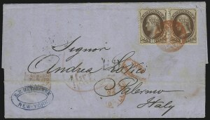 Sale Number 922, Lot Number 1180, New York Foreign Mail Cancels On Cover 10c Brown (150), 10c Brown (150)