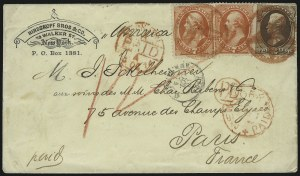 Sale Number 922, Lot Number 1181, New York Foreign Mail Cancels On Cover 2c Brown, 7c Orange Vermilion (157, 160), 2c Brown, 7c Orange Vermilion (157, 160)
