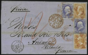 Sale Number 922, Lot Number 1182, New York Foreign Mail Cancels On Cover 1c Ultramarine, 15c Yellow Orange (156, 163), 1c Ultramarine, 15c Yellow Orange (156, 163)