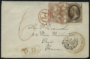 Sale Number 922, Lot Number 1183, New York Foreign Mail Cancels On Cover 6c Dull Pink, 10c Brown (159, 161), 6c Dull Pink, 10c Brown (159, 161)