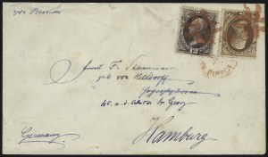Sale Number 922, Lot Number 1184, New York Foreign Mail Cancels On Cover 2c Red Brown, 12c Dull Violet (146, 151), 2c Red Brown, 12c Dull Violet (146, 151)