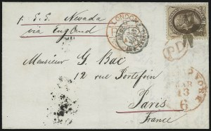 Sale Number 922, Lot Number 1184A, New York Foreign Mail Cancels On Cover 10c Brown (150), 10c Brown (150)