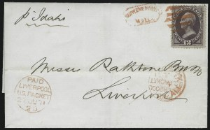 Sale Number 922, Lot Number 1185, New York Foreign Mail Cancels On Cover 12c Dull Violet (151), 12c Dull Violet (151)