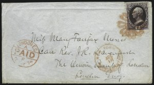 Sale Number 922, Lot Number 1186, New York Foreign Mail Cancels On Cover 12c Blackish Violet (162), 12c Blackish Violet (162)