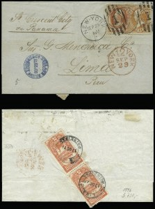 Sale Number 922, Lot Number 1274, Central and South American Mails2c Vermilion, 15c Yellow Orange (163, 178), 2c Vermilion, 15c Yellow Orange (163, 178)