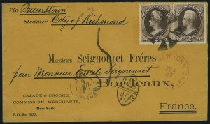 Sale Number 922, Lot Number 1298, Mail to France2c Brown (157), 2c Brown (157)
