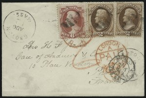 Sale Number 922, Lot Number 1299, Mail to France2c Red Brown, 6c Carmine (146, 148), 2c Red Brown, 6c Carmine (146, 148)