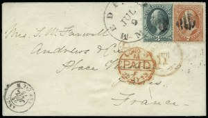 Sale Number 922, Lot Number 1300, Mail to France3c Green, 7c Vermilion (149), 3c Green, 7c Vermilion (149)