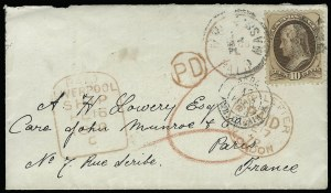 Sale Number 922, Lot Number 1301, Mail to France10c Brown (150), 10c Brown (150)