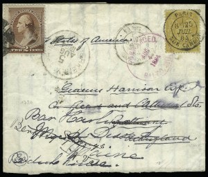 Sale Number 922, Lot Number 1307, Mail to France2c Red Brown (210), 2c Red Brown (210)