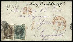 Sale Number 922, Lot Number 1371, Mail to Scandinavia3c Green, 10c Brown (147, 150), 3c Green, 10c Brown (147, 150)