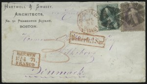Sale Number 922, Lot Number 1372, Mail to Scandinavia3c Green, 24c Purple (147, 153), 3c Green, 24c Purple (147, 153)
