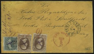 Sale Number 922, Lot Number 1378, Mail to Scandinavia2c Red Brown (146), 2c Red Brown (146)