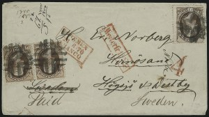 Sale Number 922, Lot Number 1381, Mail to Scandinavia2c Red Brown, 10c Brown (146, 150), 2c Red Brown, 10c Brown (146, 150)