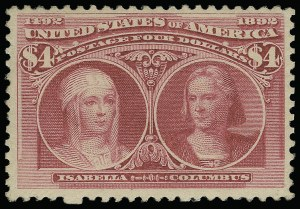 Sale Number 923, Lot Number 2504, 1893 Columbian Issue$4.00 Rose Carmine, Columbian (244a), $4.00 Rose Carmine, Columbian (244a)