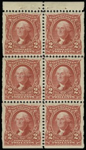 Sale Number 923, Lot Number 2640, 1902-08 Issues (Scott 300 thru 320)2c Carmine, Booklet Pane of Six (301c), 2c Carmine, Booklet Pane of Six (301c)