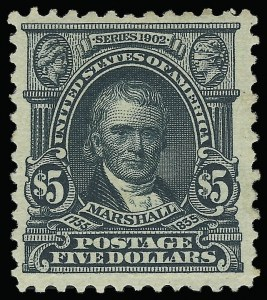 Sale Number 923, Lot Number 2677, 1902-08 Issues (Scott 300 thru 320)$5.00 Dark Green (313), $5.00 Dark Green (313)