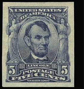 Sale Number 923, Lot Number 2679, 1902-08 Issues (Scott 300 thru 320)5c Blue, Imperforate (315), 5c Blue, Imperforate (315)