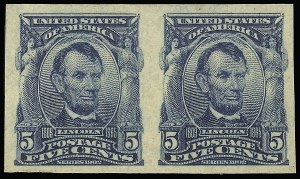 Sale Number 923, Lot Number 2680, 1902-08 Issues (Scott 300 thru 320)5c Blue, Imperforate (315), 5c Blue, Imperforate (315)