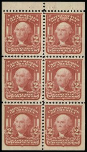 Sale Number 923, Lot Number 2689, 1902-08 Issues (Scott 300 thru 320)2c Carmine, Ty. I, Booklet Pane of Six (319g), 2c Carmine, Ty. I, Booklet Pane of Six (319g)