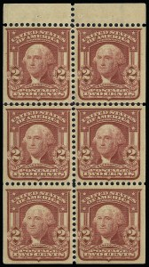 Sale Number 923, Lot Number 2690, 1902-08 Issues (Scott 300 thru 320)2c Lake, Ty. II, Booklet Pane of Six (319q), 2c Lake, Ty. II, Booklet Pane of Six (319q)