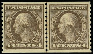 Sale Number 923, Lot Number 2886, 1912-23 Issues (Scott 424 to 458)4c Brown, Coil (457), 4c Brown, Coil (457)