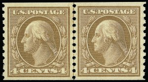 Sale Number 923, Lot Number 2935, 1912-23 Issues (Scott 490 to 519)4c Orange Brown, Coil (495), 4c Orange Brown, Coil (495)
