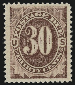 Sale Number 924, Lot Number 128, 1884 American Bank Note Co. Postage Due Issue30c Red Brown (J20), 30c Red Brown (J20)