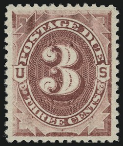 Sale Number 924, Lot Number 132, 1891 American Bank Note Co. Postage Due Issue3c Bright Claret (J24), 3c Bright Claret (J24)