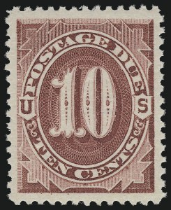 Sale Number 924, Lot Number 134, 1891 American Bank Note Co. Postage Due Issue10c Bright Claret (J26), 10c Bright Claret (J26)