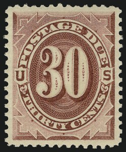 Sale Number 924, Lot Number 135, 1891 American Bank Note Co. Postage Due Issue30c Bright Claret (J27), 30c Bright Claret (J27)