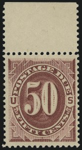 Sale Number 924, Lot Number 136, 1891 American Bank Note Co. Postage Due Issue50c Bright Claret (J28), 50c Bright Claret (J28)