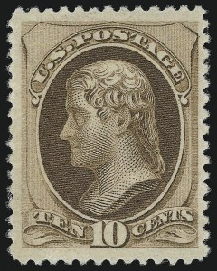 Sale Number 924, Lot Number 38, 1879 American Bank Note Co. Issue10c Brown, Without Secret Mark (187), 10c Brown, Without Secret Mark (187)