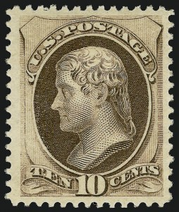 Sale Number 924, Lot Number 39, 1879 American Bank Note Co. Issue10c Brown, With Secret Mark (188). Mint N.H, 10c Brown, With Secret Mark (188). Mint N.H