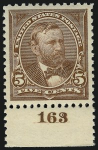 Sale Number 924, Lot Number 81, 1894 Unwatermarked Bureau Issue5c Chocolate (255), 5c Chocolate (255)