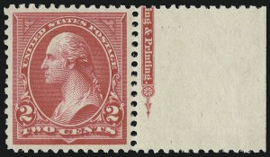 Sale Number 924, Lot Number 93, 1895 Watermarked Bureau Issue2c Carmine, Ty. II (266), 2c Carmine, Ty. II (266)
