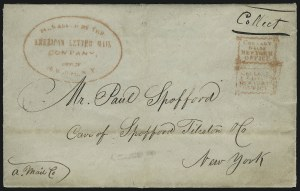 Sale Number 925, Lot Number 1008, American Letter Mail CompanyForwarded by the American Letter Mail Company, Office, 66 Wall St. N.Y, Forwarded by the American Letter Mail Company, Office, 66 Wall St. N.Y
