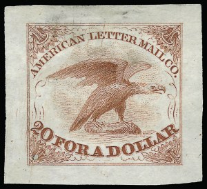 Sale Number 925, Lot Number 1009, American Letter Mail CompanyAmerican Letter Mail Co., 5c Small Eagle, Trial Color Die Proofs on India (5L1TC), American Letter Mail Co., 5c Small Eagle, Trial Color Die Proofs on India (5L1TC)