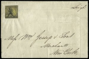 Sale Number 925, Lot Number 1030, Hartford Mail RouteHartford Conn. Mail Route, (5c) Black on Yellow Glazed (80L1), Hartford Conn. Mail Route, (5c) Black on Yellow Glazed (80L1)