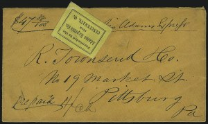 Sale Number 925, Lot Number 1052, Adams & Co.Forwarded by the Adams Express Co. from Cincinnati O, Forwarded by the Adams Express Co. from Cincinnati O