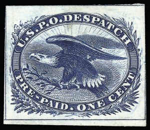 Sale Number 925, Lot Number 1142, 1851 One-Cent Eagle General Issue1c Eagle Carrier, Atlanta Trial Color Plate Proofs on Card (LO2TC), 1c Eagle Carrier, Atlanta Trial Color Plate Proofs on Card (LO2TC)