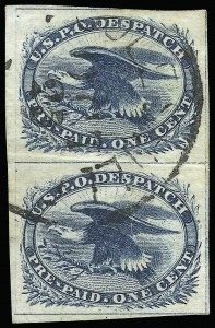 Sale Number 925, Lot Number 1144, 1851 One-Cent Eagle General Issue1c Blue, Eagle Carrier (LO2), 1c Blue, Eagle Carrier (LO2)