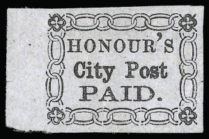 "Sale Number 925, Lot Number 1191, Charleston, South Carolina (HonourHonour's City Post, Charleston S.C., (2c) Black on Bluish, No Period After ""Post"" (4LB13b), Honour's City Post, Charleston S.C., (2c) Black on Bluish, No Period After ""Post"" (4LB13b)"