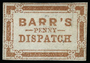 Sale Number 925, Lot Number 1277, BakerBarr's Penny Dispatch, Lancaster Pa., (unstated value) Red (8L1), Barr's Penny Dispatch, Lancaster Pa., (unstated value) Red (8L1)