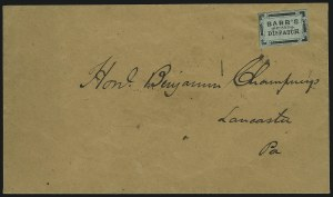 Sale Number 925, Lot Number 1280, BakerBarr's Penny Dispatch, Lancaster Pa., (unstated value) Black on Green (8L2), Barr's Penny Dispatch, Lancaster Pa., (unstated value) Black on Green (8L2)