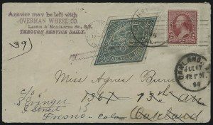 Sale Number 925, Lot Number 1289, BeesleyBicycle Mail Route, Cal., 25c Green (12L1), Bicycle Mail Route, Cal., 25c Green (12L1)
