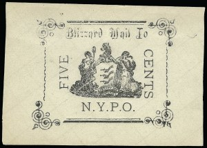 Sale Number 925, Lot Number 1292, BeesleyBlizzard Mail, New York N.Y., 5c Black (163L1), Blizzard Mail, New York N.Y., 5c Black (163L1)