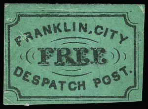 Sale Number 925, Lot Number 1368, BoutonFranklin's City Despatch Post, New York N.Y., (2c) Black on Green (16L1), Franklin's City Despatch Post, New York N.Y., (2c) Black on Green (16L1)