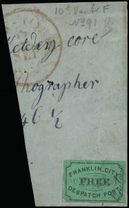 "Sale Number 925, Lot Number 1369, BoutonFranklin's City Despatch Post, New York N.Y., (2c) Black on Green, ""Bouton"" at Side (16L1a), Franklin's City Despatch Post, New York N.Y., (2c) Black on Green, ""Bouton"" at Side (16L1a)"